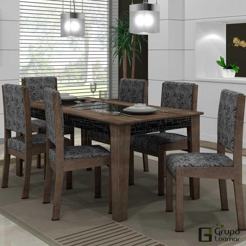 Sala De Jantar Com Preto ~ Sala de Jantar Onix 1,50m Vidro com 6 Cadeiras Onix  TerrarumPreto